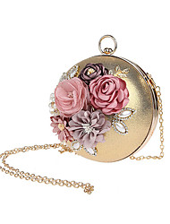Women Evening Bag Polyester All Seasons Formal Event/Party Wedding Bowling Satin Flower Clasp Lock Ruby Silver Black Gold
