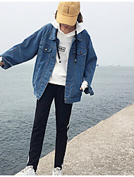 Women's Casual/Daily Vintage Fall Denim Jacket,Letter Round Neck Long Sleeve Short Polyester