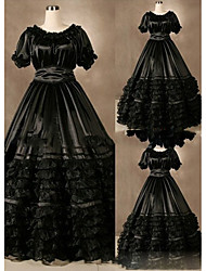 One-Piece/Dress Gothic Lolita Vintage Inspired Lolita Cosplay Lolita Dress Vintage Cap Short Sleeve Floor-length Dress For Other