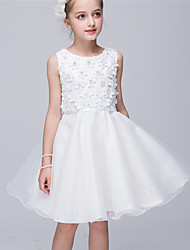 Princess Knee-length Flower Girl Dress - Mesh Tulle Netting Jewel with Applique Flower(s)