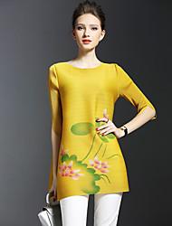 Ample Robe Femme Sortie Décontracté / Quotidien Chinoiserie,Fleur Col Arrondi Mini ½ Manches Autres Printemps Eté Taille Normale