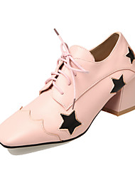 Women's Heels Comfort Leatherette All Seasons Casual Dress Outdoor Comfort Lace-up Split Joint Chunky Heel White Gray Blushing Pink3in-3