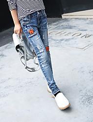 Para Meninas Jeans Bordado Verão
