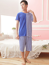 Summer couples pajamas personalized stripes stitching short - sleeved bamboo fiber men and women pajamas wholesale factory direct