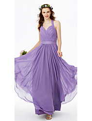 A-Line Halter Floor Length Chiffon Bridesmaid Dress with Sashes / Ribbons Criss Cross Pleats by LAN TING BRIDE®