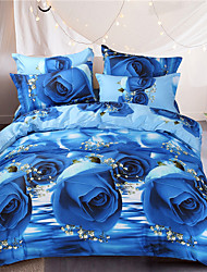 Blue rose style printed flowers queen size 100%cotton bedding sets 4pcs bed sheet pillowcase duvet cover set