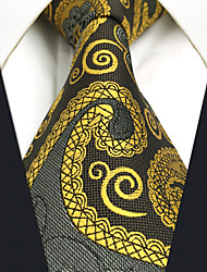 CXL1 Extra Long Mens Necktie Tie Wedding Gold Gray Paisley 100% Silk Business Casual Jacquard Woven New