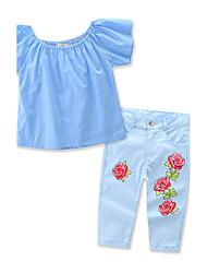 Девочки Наборы Смесь хлопка С принтом Лето С короткими рукавами Набор одежды