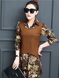 Women's Casual/Daily Simple Spring Blouse,Floral Shirt Collar Long Sleeve Cotton