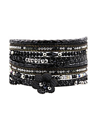 Fashion Women Multi Rows Rhinestone PU Flower  Charm Leather Bracelet