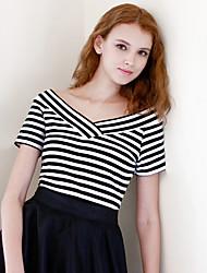 Damen Gestreift Einfach Alltag T-shirt,V-Ausschnitt Kurzarm Baumwolle