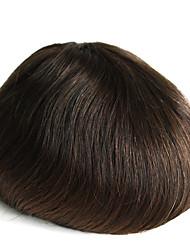 Vrais cheveux humains peau mince homme toupee couleur 2 # poil pour homme poil de cheveux humain de 6 po de long pour les hommes