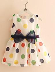 Girl's Polka Dot Dress,Cotton Spring Summer Fall Sleeveless