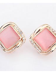Euramerican Stud Earrings  Lady And Girl Joker Opal Square Classic Elegant Opal Rhinestone Movie Jewelry