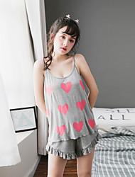 Женский пижамный набор милый узор сердца без рукавов милый уютный домашний костюм