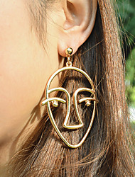 Unique Design Personality Exaggerated Metal Hollow Smiling Face Creative Earring Alloy Jewelry For Party Birthday Congratulations