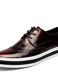 Для мужчин Туфли на шнуровке Удобная обувь Кожа Свиная кожа Весна Повседневные Черный Красный Цвет экрана На плоской подошве
