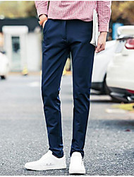 Men's Mid Rise Micro-elastic Business Pants,Street chic Straight Slim Solid