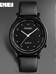 SKMEI Men's Dress Watch Fashion Watch Japanese Quartz Water Resistant / Water Proof Genuine Leather Band Charm Cool Casual Black Brown