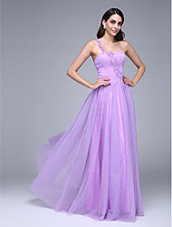 TS Couture Prom Formal Evening Dress - Elegant A-line One Shoulder Floor-length Tulle with Beading Ruching