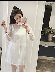 Women's Going out A Line Dress,Solid Round Neck Maxi Short Sleeve Silk All Seasons Low Rise Inelastic Thin