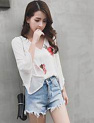Damen Blumen Einfach Normal T-shirt,V-Ausschnitt Langarm Polyester