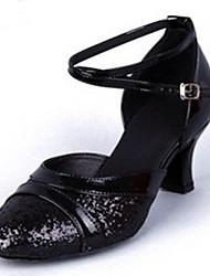 """Women's Latin PU Glitter Heels Indoor Buckle Low Heel Silver Black Gold 2"""" - 2 3/4"""" Customizable"""