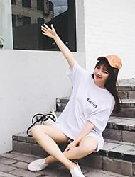 Damen Solide Muster Buchstabe & Nummer Einfach Niedlich Lässig/Alltäglich T-shirt,Rundhalsausschnitt Frühling Sommer ½ Länge Ärmel