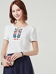 I BELIEVE YOUWomen's Daily Casual Simple T-shirtSolid Embroidery Geometric Pattern Round Neck Short Sleeve Cotton