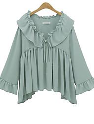 Damen Solide Niedlich Party Normal Bluse,V-Ausschnitt Frühling Sommer Langarm Seide Semi-transparent