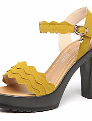 Women's Sandals Basic Pump Synthetic Summer Casual Basic Pump Wedge Heel Ruby Yellow Black 3in-3 3/4in