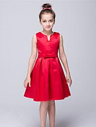 A-line Knee-length Flower Girl Dress - Stretch Satin V-neck with Bow(s)