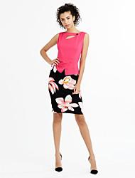Moulante Robe Aux femmes Soirée / Cocktail Sophistiqué,Fleur Col Arrondi Mi-long Sans Manches Bleu / Rose / Rouge / JauneCoton /