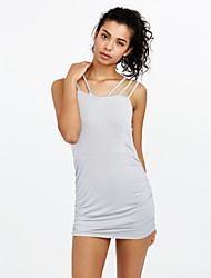 Fashion Ladies Perspective Mosaic / Sleeveless Dress / Waist Dress