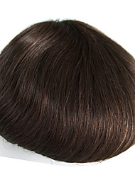 Human Hair Toupee for Men with Transparent Thin Skin PU  8 x 10 Straight Hair Pieces for Men #3 Hair Replacement System