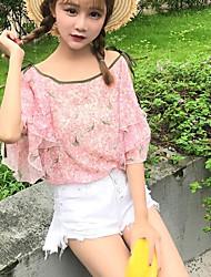 Tee-shirt Femme,Fleur simple Mignon Eté Manches Courtes Epaules Dénudées Coton Polyester Fin