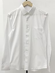 Masculino Camisa Social Casual SimplesSólido Algodão Colarinho de Camisa Manga Longa Fina