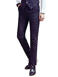 Men's Low Rise Micro-elastic Business Pants,Simple Slim Solid