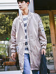 Men's Casual/Daily Simple Fall Trench Coat,Solid Hooded Long Sleeve Long Polyester