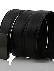 Men's Simple Solid Black Genuine Leather Alloy Automatic Buckle Waist Belt Work/Casual/Party All Seasons