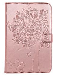 Pour ipad mini 4 sacoche porte-carte porte-monnaie avec support flip en relief corps plein carré arbre chat papillon pu dur cuir pour mini