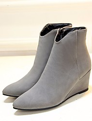 Women's Boots Spring Comfort PU Casual Almond Dark Grey Black