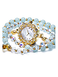 Women's Fashion Watch Quartz Water Resistant / Water Proof Noctilucent Jade Band White Blue