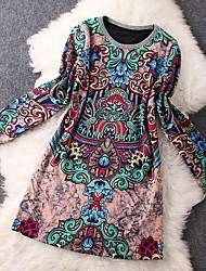 Tunique Robe Femme Décontracté / Quotidien Plage Vacances Vintage,Imprimé Col Arrondi Mini Manches Longues Coton Polyester EtéTaille