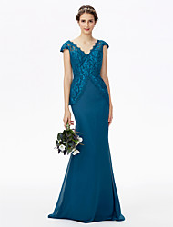Mermaid / Trumpet V Neck Sweep / Brush Train Chiffon Lace Bridesmaid Dress with Lace by LAN TING BRIDE®