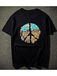 Tee-shirt Homme,Couleur Pleine Imprimé Bureau/Carrière Quotidien Vintage Chic de Rue Manches Courtes Col Arrondi Autres