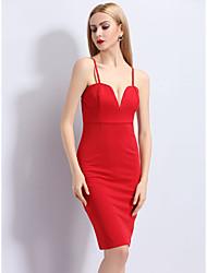 Trapèze Robe FemmeCouleur Pleine Sans Bretelles Au dessus du genou Sans Manches 70% Wool30% Coton Eté Taille Basse Micro-élastique Moyen