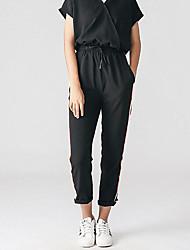 Mujer Sencillo Alta cintura Microelástico Chinos Pantalones,Delgado A Rayas