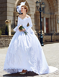 Ball Gown V-neck Chapel Train Satin Wedding Dress with Beading Appliques by LAN TING BRIDE®