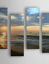 Pintada a mano Abstracto Horizontal,Moderno/Contemporáneo Nueva llegada Cuatro Paneles Lienzos Pintura al óleo pintada a colgar For